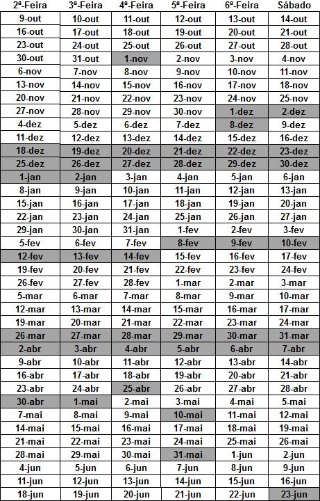 Calendário Académico 2017/2018